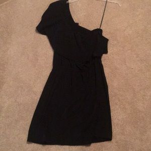 One shoulder black dress from Express
